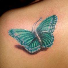 Blue #3D #Butterfly #Tattoo #InkedMagazine #Inked #tattoos