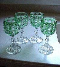 Four Beautiful Green Overlay Cut Glass Wine Glasses