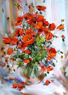 Bouquet of poppies Abstract Flowers, Watercolor Flowers, Watercolor Paintings, Art Floral, Poppy Bouquet, Wonderful Flowers, Russian Art, Red Poppies, Acrylic Art