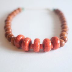 Chunky Orange Big Beaded Necklace Round Disc Beaded by sanwaitsai