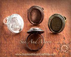 Vintage Design Adjustable Ring Blanks - 13x18mm Setting
