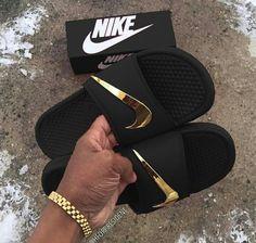 ひ {Loved the pin? Follow @kaezzi for more 🤣} ひ _____________________ Custom Sneakers, Sneakers Nike, Custom Flip Flops, Nike Sandals, Nike Flip Flops, Sock Shoes, Shoe Boots, Nike Slides, Lit Shoes