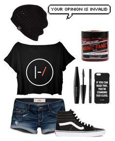 """21 pilots"" by atrabiliousx on Polyvore featuring Hollister Co., Vans, MAKE UP FOR EVER, Lancôme, Manic Panic, UGG Australia, Jac Vanek, women's clothing, women and female"