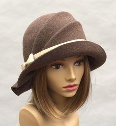 Olivia, Fur Felt Cloche, millinery hat, Downton Abbey era, brown heather color by LuminataCo on Etsy
