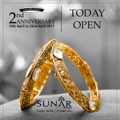 Sunar Jewels Celebrating Its 2nd Anniversary, Come Enjoy Lowest Gold Rates Rs. 99/- Per gm. Making Charges On All Jewellery, 54% Discount On Diamond Prices Starting From 9990/- Per Ct. Enjoy Addl. Discount of 1.8% On Purchase Worth 1.80L-3.60L,2.7% On Purchase Worth 3.60L-5.40L & 3.7% On 5.40L & Above On Purchase Of Any Jewelry #NowOpen #2ndAnniversarySpecial #NewCollectionArrived #Sunar #SunarJewelsIndia