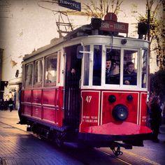 #Istanbul #tram #transport #center #red #istiklal #caddesi #old #vintage