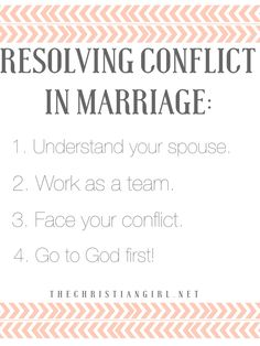 4 practical tips on how to resolve conflict in marriage on thechristiangirl.net! #thechristiangirl #godfirst #godlymarriage #proverbs31woman #christianmarriage #godlywife #resolvingconflict #ilovemyhusband