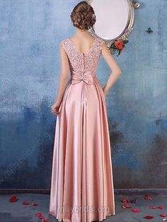 A-line Scoop Neck Satin Tulle Floor-length Appliques Lace Fabulous Prom Dresses Pink Prom Dresses, Prom Dresses Online, Bridesmaid Dresses, Lace Bridesmaids, Formal Dresses For Women, Formal Evening Dresses, Lace Prom Gown, Prom Gowns, Satin Tulle
