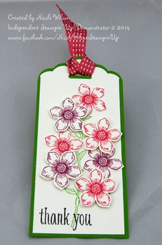 Thankyou Tag Stampin' Up! using Scalloped Tag Topper Punch, Whisper white and gumball green papers, Peaceful Petals, Petite Petals bundle (stampset and punch) Primrose petals ribbon and ink, rich raspberry, gumball green and stazon inks