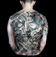 100 hannya mask tattoo designs for men - japanese ink ideas Japanese Mask Tattoo, Japanese Dragon Tattoos, Japanese Tattoo Designs, Tattoo Designs For Women, Samurai Mask Tattoo, Hannya Mask Tattoo, Full Back Tattoos, Back Tattoos For Guys, Asian Tattoos
