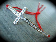 Yogi Bead Gold Swarovski Cross Macrame Red Knot