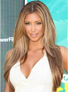 Kim Kardashian Custom Super Sexy 22 Inches Blonde Hair Style Lace Front Perfect Wig