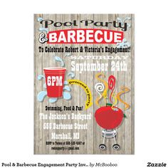 Pool & Barbecue Engagement Party Invitations