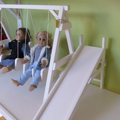 Amish handmade doll swing set playground furniture American wood see-saw play playschool slide swings girl girls USA complete seesaw dolls 18 inch prop stand Girls Furniture, American Girl Furniture, Doll Furniture, Dollhouse Furniture, Doll Crafts, Diy Doll, Ag Dolls, Girl Dolls, Playground Swing Set