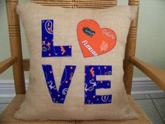 University of Florida Gator Love Burlap Pillow Cover 16 x 16