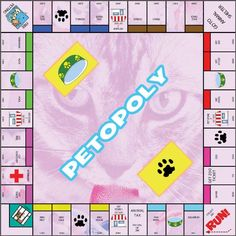 "Petopoly Game - And Free Downloadable Blank Monopoly Template for you! Now this is a work in progress, some details still need to be worked upon (the second utility building is missing for example) and I still have to work on my paw and bowl cards and what to write on them. Until the project is fully finished I used the same values for my ""properties"" as are on the actual game so you could use the standard treasure chests and chance cards to play my Petopoly:)"