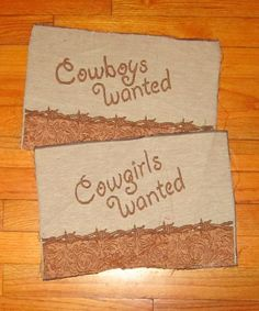 Cowboys Wanted - Cowgirls Wanted Tapestry Pillow Top Fabric - 2 Pieces