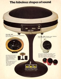 GEC Weltron 2007 (BSR Turntable, AM/FM Radio & 4 Track Cassette Player) designed in the late 60s. Sold in 1970/1971. This system had optional external speakers and stand.