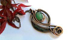 Wire wrapped copper pendant with Aventurine Copper necklace