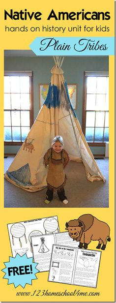 FREE Native Americans - Plains Tribes History for Kids. So many cute hands on activities for Kindergarten grade grade grade grade and grade students plus FREE worksheets for kids (homeschool history for kids) History Activities, Hands On Activities, Kindergarten Activities, Enrichment Activities, Preschool Projects, Montessori Activities, Preschool Learning, Learning Tools, Fun Learning