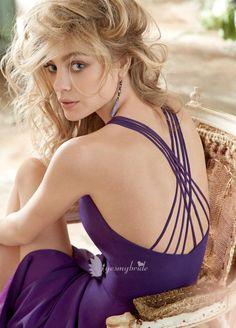 Bridesmaid dress - purple chiffon v-neckline spaghetti strap criss cross back short bridesmaid dress