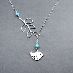 Turquoise Bird and Branch Lariat Necklace, Bird Jewelry Sterling Silver Chain