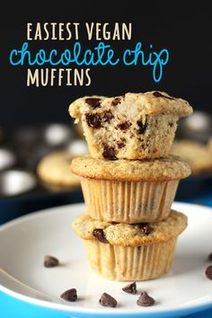 These are everything you love about traditional chocolate chip muffins, in VEGAN form. These homemade muffins are moist, fluffy, and perfectly studded with choco-chips!