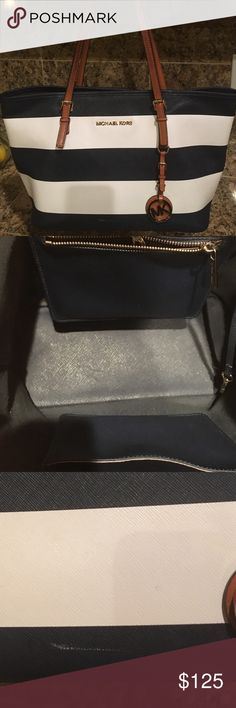 """Michael Kors Jet Set tote Beautiful navy blue (nautical) handbag. Appx 14""""h and 8 1/2"""" . Great condition small scratches from wear (pic attached) . KORS Michael Kors Bags Totes"""