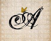 Antike Buchstaben A-Z 26 Skript Monogramm mit Schmetterling Digital Download für Wörterbuchseiten, Papercrafts, Transfer, Jute-Kissen usw..