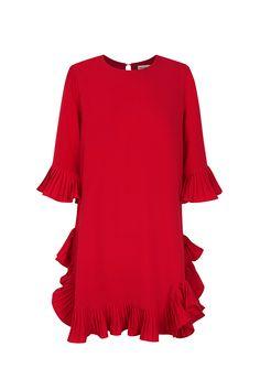Vestido rojo trapecio TERIA YABAR Otoño Invierno 2019 2020 Ruffle Blouse, Tunic Tops, Bella, Women, Dress Red, Hemline, Short Dresses, Fall Winter, Moda Femenina
