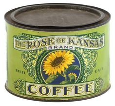 "Vintage coffee can for ""Rose of Kansas"" brand (Ennis-Hanly-Blackburn Co., Kansas City) with sunflower image"
