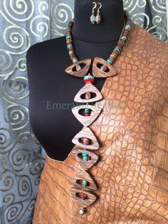Extra long necklace Wooden necklace Abstract One by EmeraldDream1, $220.00