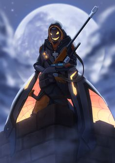 1girl alternate_costume ana_(overwatch) clouds cloudy_sky fog full_body full_moon ghoul_ana glowing glowing_eyes glowing_mouth gun halloween halloween_costume holding holding_gun holding_weapon hood jacky5493 mask moon night outdoors overwatch rifle sitting sky sniper_rifle solo weapon