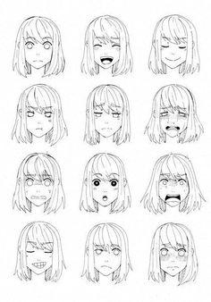 How to Draw Anime How to Draw Manga Hair Ideas - How to Draw Anime How to Draw Manga Hair Ideas - Anime Drawings Sketches, Anime Sketch, Art Drawings, Anime Faces Expressions, Drawing Expressions, Manga Drawing Tutorials, Drawing Techniques, Drawing Hair Tutorial, Manga Tutorial