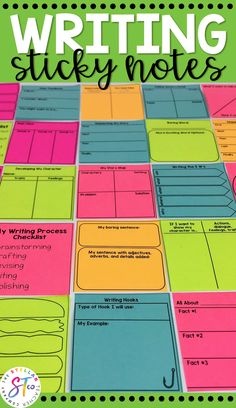 These writing sticky note templates are awesome. They are the perfect teaching tool to use during your writing workshop. They encourage students to work through the writing process and make revising and editing so easy and fun. Teaching Activities, Teaching Writing, Teaching Tips, Writing Strategies, Writing Skills, Writing Graphic Organizers, Third Grade Writing, Writing Process, Writing Workshop