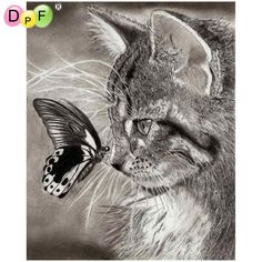 DPF Diamond Embroidery butterfly love cat Diamond Painting Cross Stitch Square full diamond Mosaic Needlework Sets Decor picture