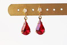 Ruby Red Glass Titanium Stud Earrings Gold Crystal Rhinestone Vintage Style by KaoriKaori on Etsy