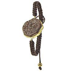 Urban Posh Octagon Metallic Druzy Macrame Bracelet - Brown