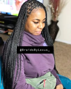 knotless box braids  natural hair/ protective styles in