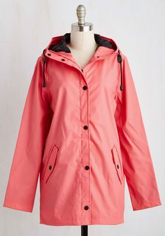 Storm and Stride Jacket. When the day appears dark and drizzly, a strut in this coral pink rain jacket brightens your entire being! #pink #modcloth