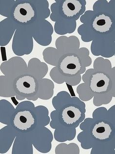 Finnish Fabric Designer Marimekko - Original Flower Pattern in Grey  (laundry room?)