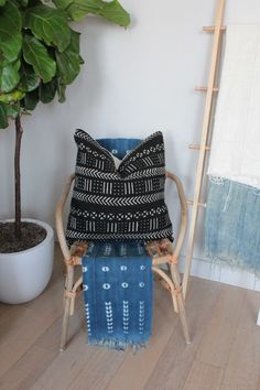 MudCloth Pillow Cover African Textile Authentic by OneAffirmation