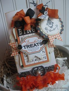 vintage style DREADFUL TREATS candy bag with TWO layered hand stamped tags for candy gift decoration