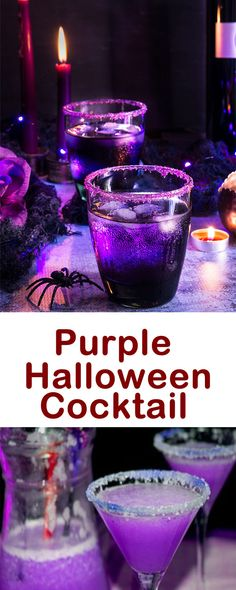 Whether you're planning to throw a Halloween party or not, there are some great Halloween drinks to make part of your spooky night. Purple Halloween Cocktail Drink Recipe is a fun and easy variation of the traditional martini. Halloween Cocktails, Halloween Snacks, Shots Halloween, Punch Halloween, Halloween Tags, Halloween Bebes, Purple Halloween, Halloween Dinner, Holiday Drinks