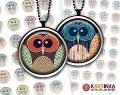 summer owls  1x1 inch  digital collage sheet  by kartinkashop, $3.50