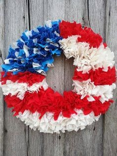 16 American Flag Rag Wreath Wreath America 4th by OurNanakins