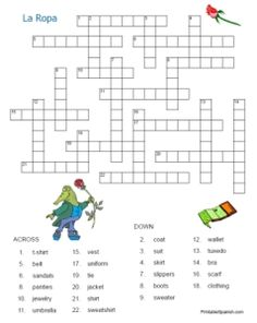 la ropa tres free spanish crossword with answer key from printable. Black Bedroom Furniture Sets. Home Design Ideas