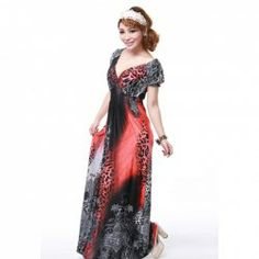Elegant Plunging Neck and Leopard Pattern Design Short Sleeves Rayon Dress For Women (RED,FREE SIZE) China Wholesale - Sammydress.com