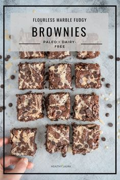 Easy & quick flourless marble brownies that are gluten-free, dairy-free, refined sugar-free and paleo based. Made with almond flour, honey & tahini. Dairy Free Recipes Easy, Healthy Recipes, Gluten Free Desserts, Healthy Baking, Baking Recipes, Real Food Recipes, Flour Recipes, Paleo Dessert, Healthy Dessert Recipes