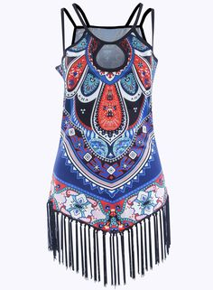 245623cc220 Women s Casual Spaghetti Strap Fringed Hemline Print Tank .Check more from  www.oasap.